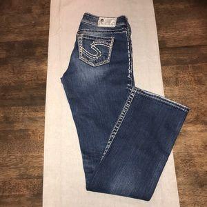 "SILVER ""Suki"" Dark Wash Distressed Boot Cut Jeans"